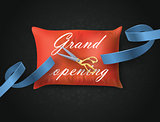 Grand opening card with blue ribbon, scissors on the pillow. Vector illustration