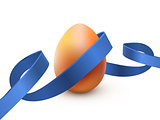 Easter egg with blue ribbon, isolated on white. Poster or brochure template. Vector illustration