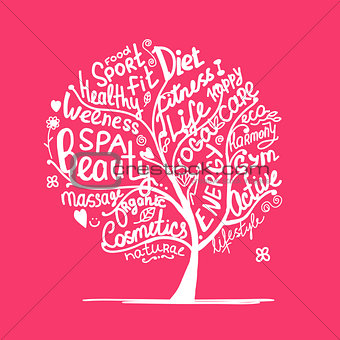 Art tree with healhty lifestyle tags