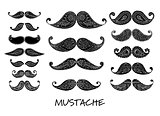 Mustache collection, ornate sketch for your design