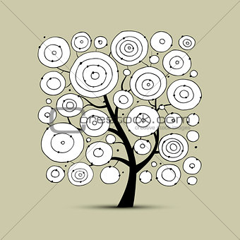 Abstract circles tree, sketch for your design
