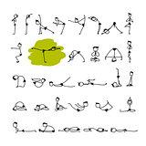 Yoga set, sketch for your design