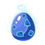 Blue Misty Egg, Fantastic Natural Element Egg-Shaped Bright Color Vector Icon