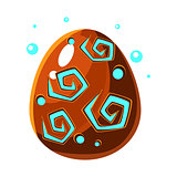 Brown Egg With Spiral Pattern, Fantastic Natural Element Egg-Shaped Bright Color Vector Icon