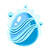 Blue Egg With Bubbles And Stripes, Fantastic Natural Element Egg-Shaped Bright Color Vector Icon