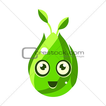 Green Nature Element, Egg-Shaped Cute Fantastic Character With Big Eyes Vector Emoji Icon