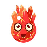 Red Lava Element Egg-Shaped Cute Fantastic Character With Big Eyes Vector Emoji Icon