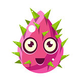 Pink Plant Bud With Spikes, Egg-Shaped Cute Fantastic Character With Big Eyes Vector Emoji Icon