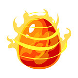 Fire Element Egg With Flames, Fantastic Natural Element Egg-Shped Bright Color Vector Icon