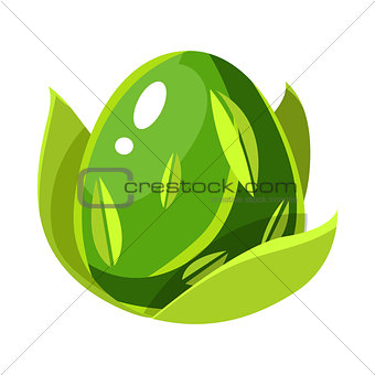 Green Natural Plant Force Egg With Leaf Pattern, Fantastic Natural Element Egg-Shaped Bright Color Vector Icon