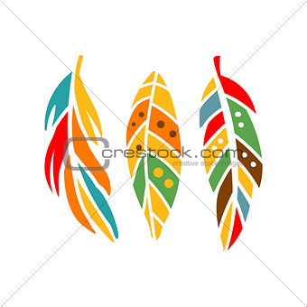 Three Different Colorful Feathers, Native Indian Culture Inspired Boho Ethnic Style Print
