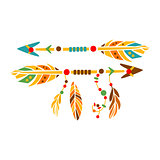 Two Decorative Arrows With Feathers, Native Indian Culture Inspired Boho Ethnic Style Print