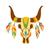Buffalo Bull Scull Decorated With Painting And Feathers, Native Indian Culture Inspired Boho Ethnic Style Print