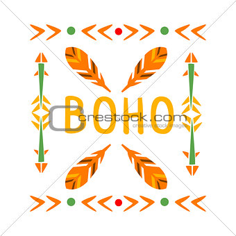 Framing Pattern With Feathers And Arrows, Native Indian Culture Inspired Boho Ethnic Style Print