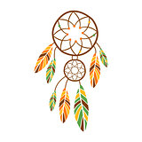 Double Dream Catcher With Feathers, Native Indian Culture Inspired Boho Ethnic Style Print