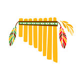 Ghost Panpipes Flute Music Instrument With Feather Decoration, Native Indian Culture Inspired Boho Ethnic Style Print