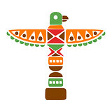 Religious Spiritual Totem With Eagle, Native Indian Culture Inspired Boho Ethnic Style Print