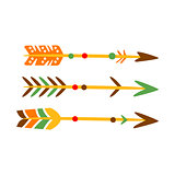 Three Decorated Bow Arrows, Native Indian Culture Inspired Boho Ethnic Style Print