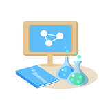 Chemistry Desk. Education Design Vector Illustration
