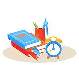 Student Desktop. Education Design Vector Illustration