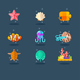 Inhabitants of Sea and Ocean. Flat Vector Illustration Set.