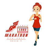 Marathon Running Woman Cartoon Illustration