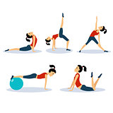 Fitness Women Workouts Set. Vector Illustration Set
