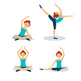 Woman Practicing Yoga. Vector Illustration Set