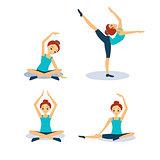 Woman Practicing Yoga. Vector Illustration Set