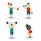 Man Workouts Set. Vector Illustration Set