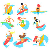 Surfing People. Vector Illustration Set