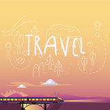 Train. Summer Travel. Vector Illustration
