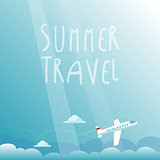 Summer Travel by Plane. Vector Illustration
