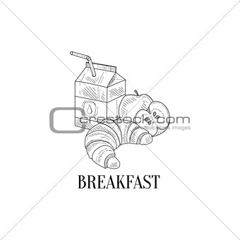 Breakfast With Milk, Croissant And Apple Hand Drawn Realistic Sketch