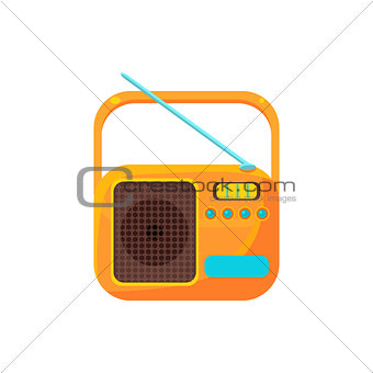 Small Yellow Radio With Antenna Simplified Icon
