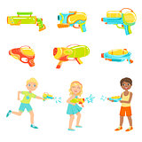 Kids Playing With Water Pistols And Different  Guns