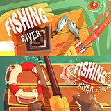 Two Fishing Illustrations With Only Hands Visible