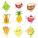 Exotic Fruits Girly Cartoon Characters Set