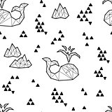 Seamless black and white kids tribal vector pattern with whales and triangles.