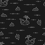 Seamless black and white kids tribal vector pattern with whales and arrows.