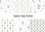 Set of navajo tribal patterns with low poly penguins.