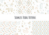 Set of navajo tribal patterns with low poly penguins, polar bears and whales.