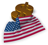 dollar symbol and usa flag - 3d illustration