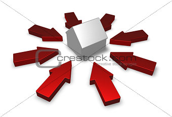 arrows around a house model - 3d illustration