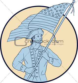 American Patriot Waving USA Flag Circle Drawing