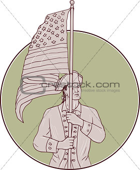 American Patriot Standing USA Flag Circle Drawing