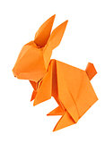 Orange easter bunny of origami.