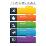 Infographics tab index 5 option template. Vector illustration ba