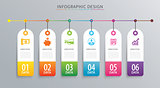 Infographics tag banner 6 option template. Vector illustration b