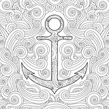 Coloring page with anchor in waves. Zentangle inspired doodle style. Square composition.